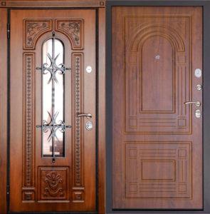 Металлическая дверь «ВИТЯЗЬ С КОВКОЙ»